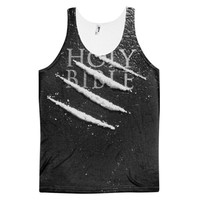 Holy Bible Cocaine Religion Coke Lines On A Bible Dye Sublimation All Over Print 3D Full Print Cotton Polyester Unisex Novelty Gray Black & White Tank Top