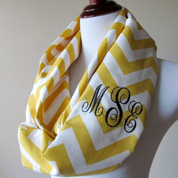 Monogrammed Infinity Scarf - Chevron Scarf - Embroidered Initials - Personalized Infinity Scarf - Yellow Chevrons Zig Zag