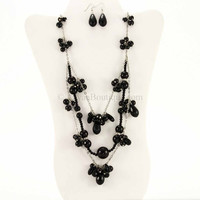 Rhodium Black Crystal Necklace Set