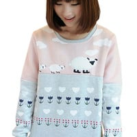 Color Block Printed Panel Sweater