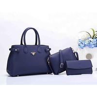 Prada Stylish Women Shopping Bag Leather Handbag Shoulder Bag Crossbody Purse Wallet Set Three Piece(5-Color) Blue I-XS-PJ-BB