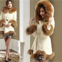 Womens winter faux Rabbit fur collar wool Jacket long Coat trench parkas outwear = 1932125380