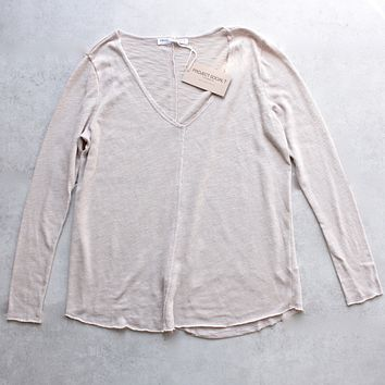 Project Social T - Maria Long Sleeve V-Neck Seamed Sweatshirt in Tan