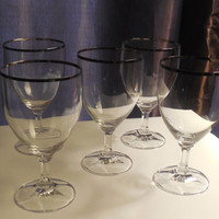 Vintage Retro Drinking Glasses Wine Or Water Set Of Five Silver Rim