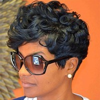 Women Short Black Brown Front Curly Hairstyle Synthetic Hair Wigs For Black