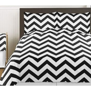 Black and White Chevron 3 Piece Childrens and Teen Zig Zag Full / Queen Girl or Boy Bedding Set Collection