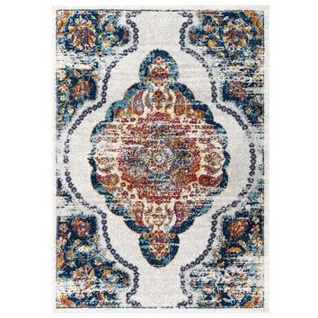 Entourage Malia Distressed Vintage Floral Persian Medallion 8x10 Area Rug