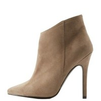 Light Taupe Pointed Toe Ankle Booties by Charlotte Russe