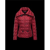 Moncler PALAS Double-Breasted Turtleneck Maroon Jackets Techno Fabric/Polyester Womens