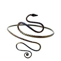 Upper Arm Bracelet, a Hand Forged Iron Snake Arm Band, Petit size
