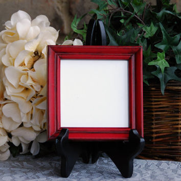 Rustic picture frame: Vintage country cottage chic red hand-painted small square 4x4 wooden wall collage gallery photo frame for the home
