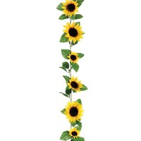 Silk Sunflower Garland in Yellow6' Long with 11 Flowers