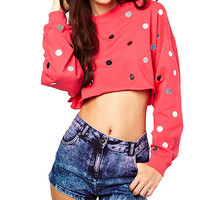 Pink Sequin Dots Sweater Crop Tank