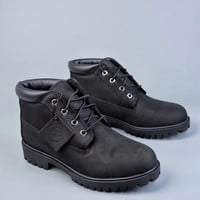 Timberland  Trending  Men  Women Black Leather Side Zip Lace-up Ankle Boots Shoes High Boots
