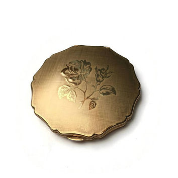 Stratton Queen Compact | Vintage Powder Compact | Gold Stratton Convertible Compact | 1970s 1980s | Embossed Rose Design On Linen Finish
