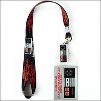 Nintendo Super Mario NES Controller Lanyard Necklace ID Holder Keychain Charm