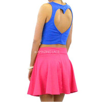 Royaly Yours Blue Cut Out Open Heart Crop Top