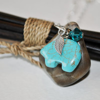 Petoskey Stone necklace with turquoise bear charm, sterling silver feather, and teal Swarovski crystal , Michigan necklace, Up North