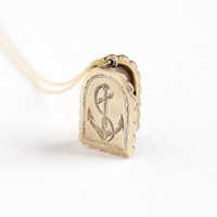 Antique 10k Gold Filled Anchor & Cross Locket Necklace - Vintage Victorian Late 1800s Faith, Hope, Charity Photo Picture Jewelry