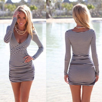 Sexy Women Summer Striped Bodycon Bandage Slim Evening Party Cocktail Mini Dress = 1932338244