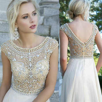 Custom Size Cap Sleeve Boat Neck Formal Evening Dresses with Gold and Silver Beading & Crystals Homecoming Long Prom Ball Party Bridesmaid