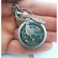 Dream Catcher Necklace // Sparkly Waterproof 30mm Stainless Steel Memory Locket