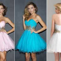 Short Beaded Organza Ball/Cocktail/Party/Homecoming/Prom dress/SZ 6 8 10 12 14