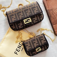 Fendi New Fashion More Letter Canvas Chain Shopping Leisure Shoulder Bag Crossbody Bag Two Piece Suit