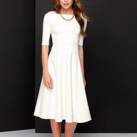 White Zipper-Back Sleeve Midi Dress
