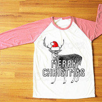 Merry Christmas TShirt Reindeer Shirt Animal Shirt Christmas Shirt Pink Sleeve Shirt Women Shirt Men Shirt Unisex Shirt Baseball Shirt S,M,L