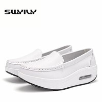 Spring Autumn Cushion Women Toning Shoes White Thick Soles Height Increasing Nurse Shoes Platform Swing Traveling Sneakers