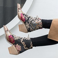 Retro Women Embroidery Flower Short Boots Lady Elegant Lace Up Ankle Boots Female Silk Chunky High Heel