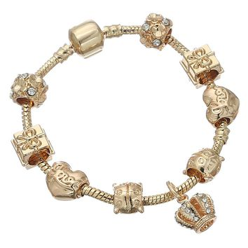 Queen Jewelry Gold Color Charms Bracelet & Bangles With Queen Crown Beads Pandora Bracelet for Women Jewelry Gift