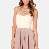 TFNC Elida Strapless Cream and Taupe Dress