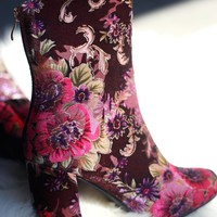 Floral Velvet Round Toe Chunky Heeled Booties