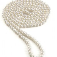 """7-8mm White Freshwater Cultured Pearl Endless Necklace, 64"""""""