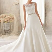 Blu by Mori Lee 5204 Lace & Chiffon Wedding Dress