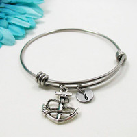 Anchor Bangle - Anchor Charm Bracelet - Expandable Bangle - Best Friend Bangle - Anchor Bracelet- Initial Bracelet - Nautical Bracelet