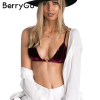 BerryGo Wine red velvet lace bra women Sexy lingerie hot Padded strappy  push up bra Wirefree bralette top backless intimates