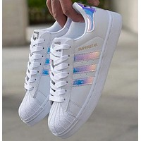 """Adidas"" Fashion Reflective Shell-toe Flats Sneakers Sport Shoes F"