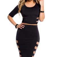 Black Half Sleeve Cut-Out Crop Top and Skirt 2 Piece Set