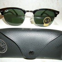 Ray-Ban RB3016 Clubmaster Italy Sunglasses with Tortoise Frame and G-15 lens
