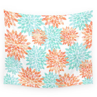 Society6 Aqua And Coral Flowers Wall Tapestry