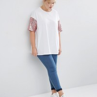 ASOS CURVE T-Shirt with Sequin Sleeve