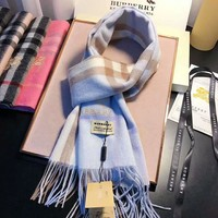 BURBERRY Classic Fashionable Blue Plaid Cashmere Cape Scarf Scarves Shawl Accessories