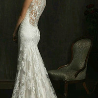 White / Ivory Mermaid Wedding dress, lace wedding dress, sexy backless lace bridal  wedding dress