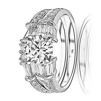 c.1.65 Carat 14K White Gold Baguette Round GIA Certified Round Cut Diamond Engagement Ring Wedding Bridal Band Set (0.9 Ct D Color VS1 Clarity Center Stone)