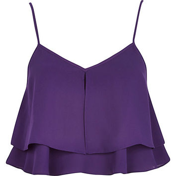 River Island Womens Purple double layer cami crop top