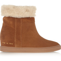 Common Projects - Faux shearling-lined suede wedge ankle boots