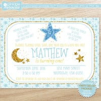 Twinkle twinkle little star first birthday invitations, Printable glittery gold and blue invite